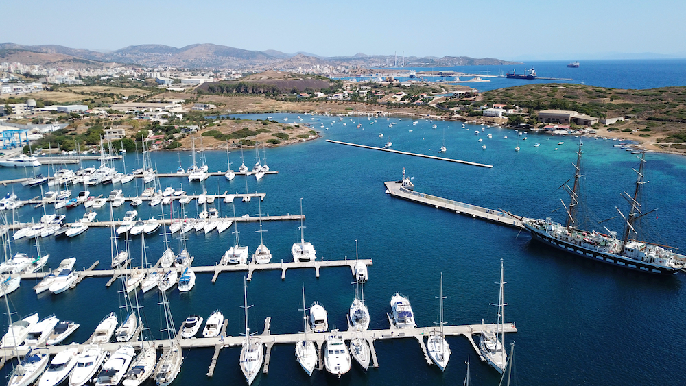 Aerial view of the port in Greece