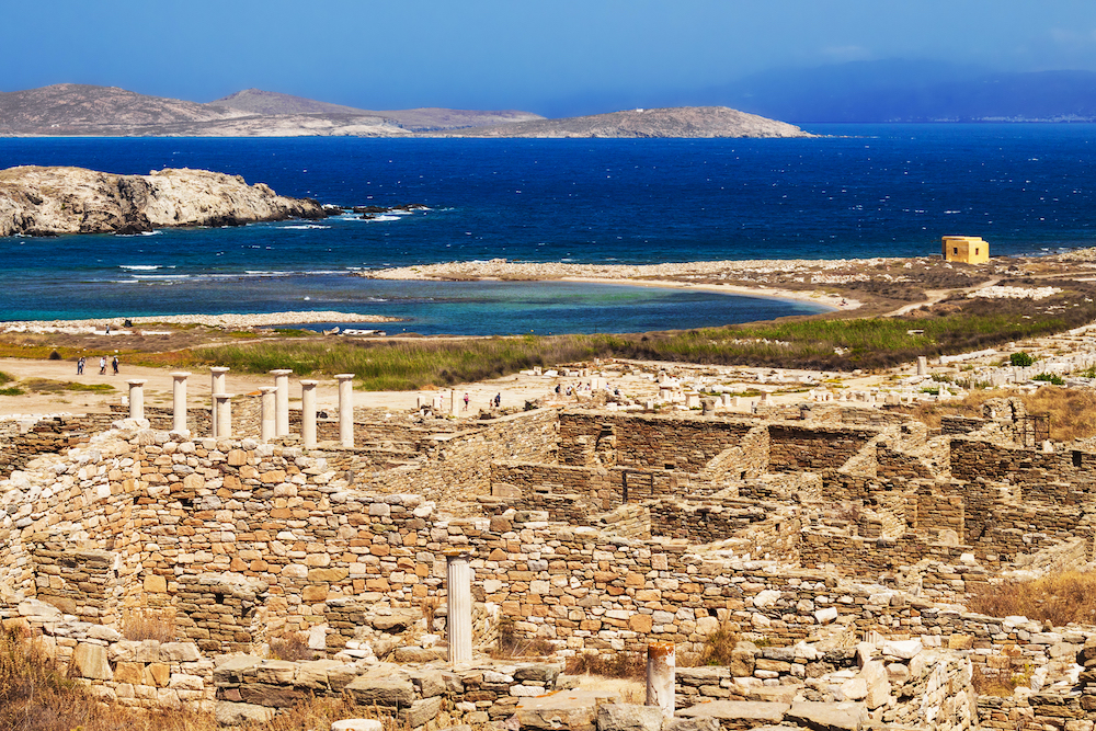 An aerial view of the historic monuments in Delos Greece