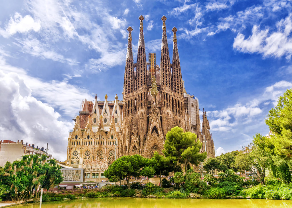 View of one the most famous landmarks of Barcelona the La Sagrada Familia