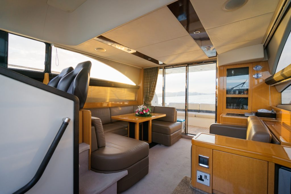 View of the cabin of a boat
