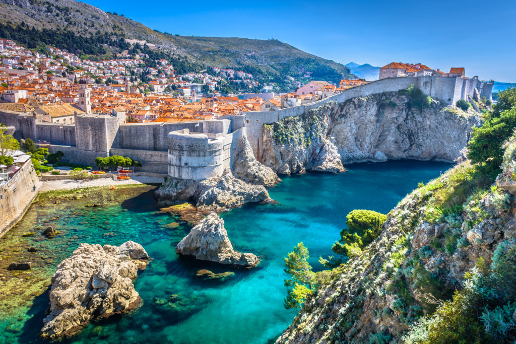 Aerial view of the old town of Dubrovnik at the seaside
