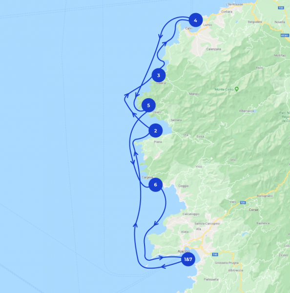 Map of the 7 days sailing route of the North Corsica itinerary starting from Ajaccio