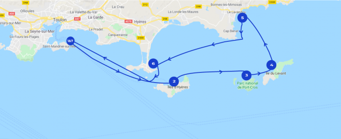 Map of a 7 days long itinerary of the Hyères sailing route