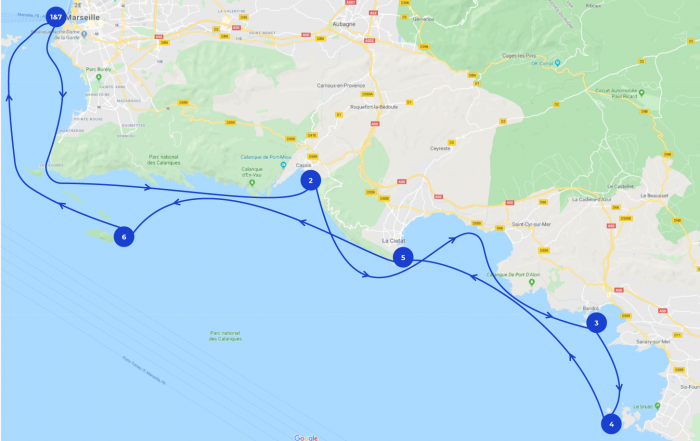 Map of the itinerary of a 7 days sailing trip in Marseille and around.