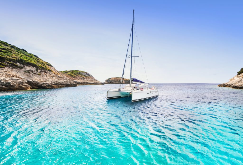 View of a catamaran in a bay