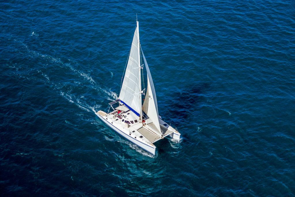 Aerial view of a catamaran in the sea