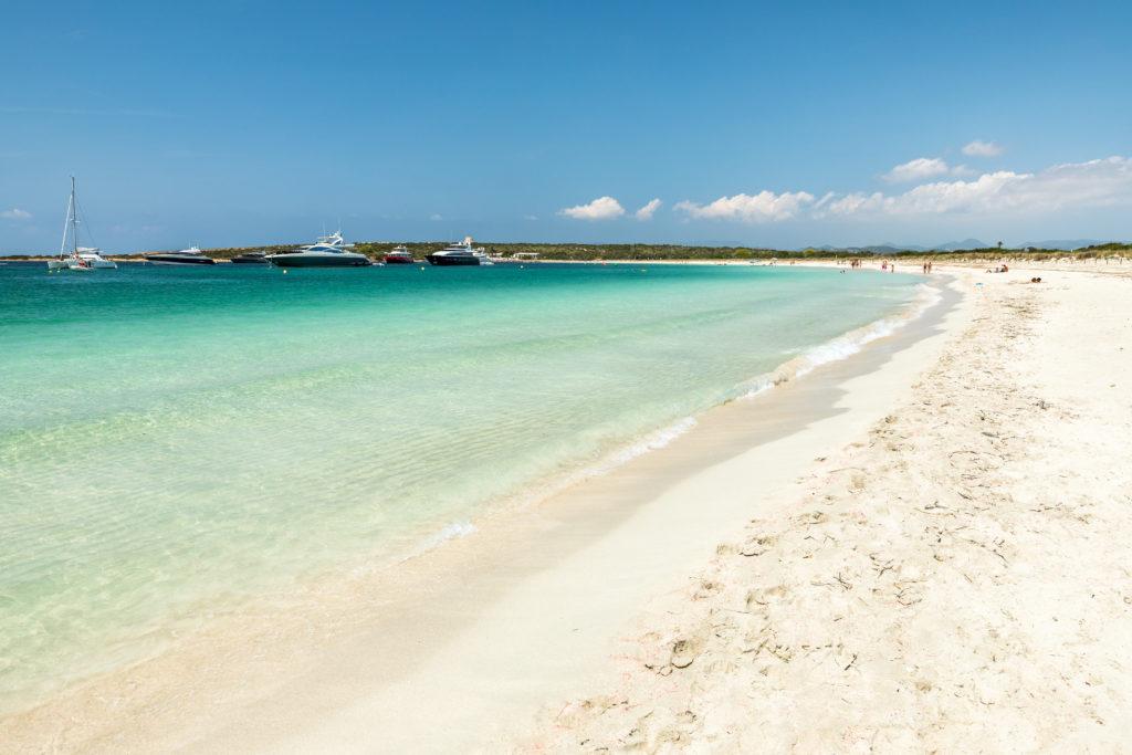 View of a white sandy beach in Espalmador island