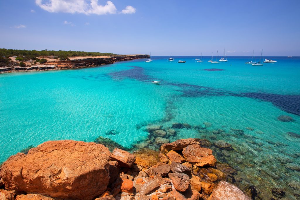 Aerial view of the Cala Saona bay in Formentera