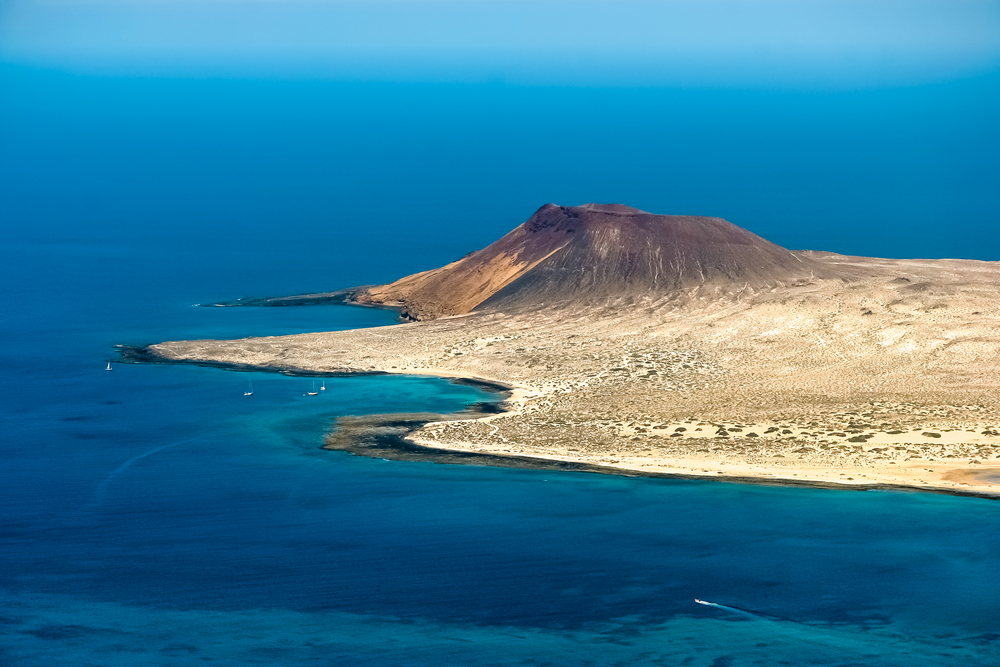 Aerial view of the small island of La Graciosia in the Canaries