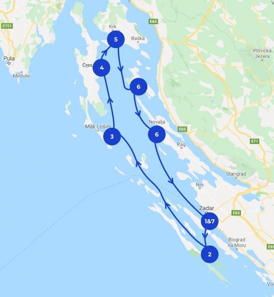 Map of the 7 days Zadar itinerary