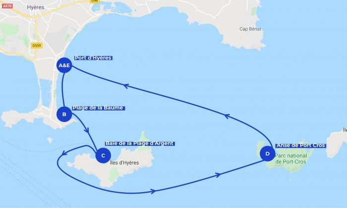 Map of the itinerary for spending one day in Hyeres