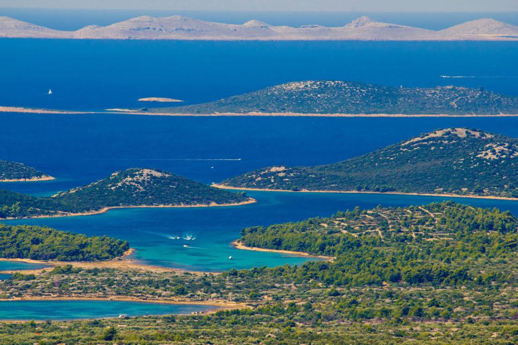 An aerial view of the Kornati islands in Croatia