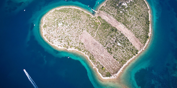 Aerial view the heart shaped island of Galesnjak in Croatia