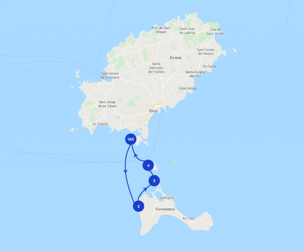 Map of the one day Ibiza itinerary