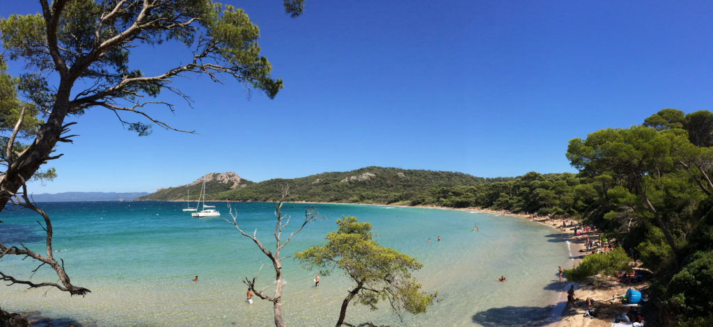 View of the Notre Dame beach in Porquerolles with the surroundind trees