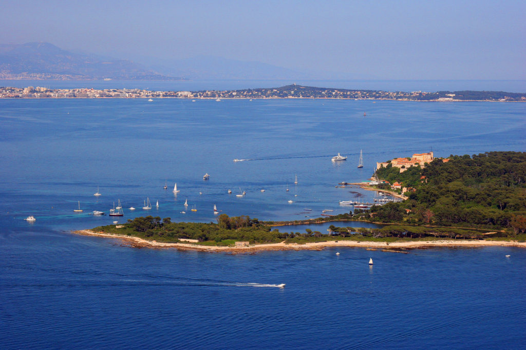 Aerial view of the Lérins Islands near Cannes