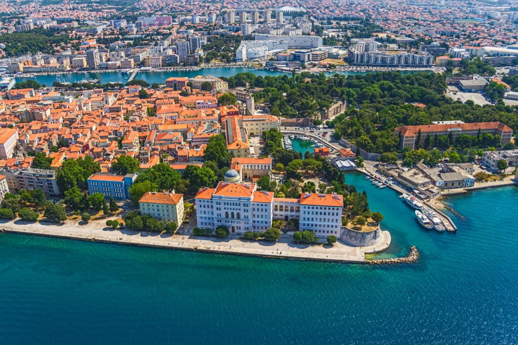 Aerial view of the city of Zadar and the port with the surrounding buildings
