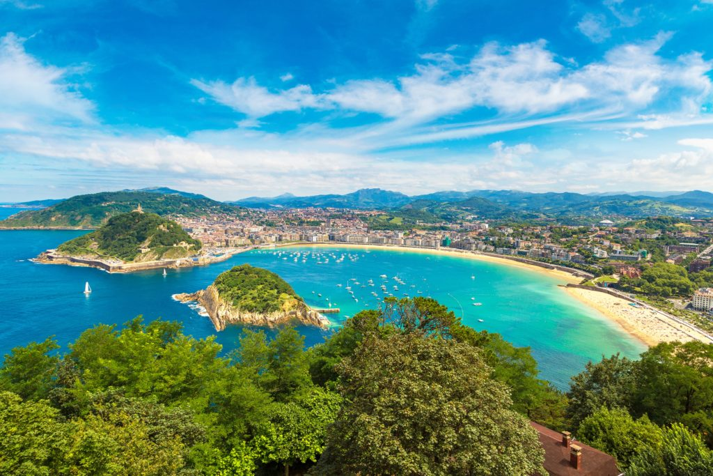 Aerial view of the La Concha Beach in San Sebastian in northern Spain