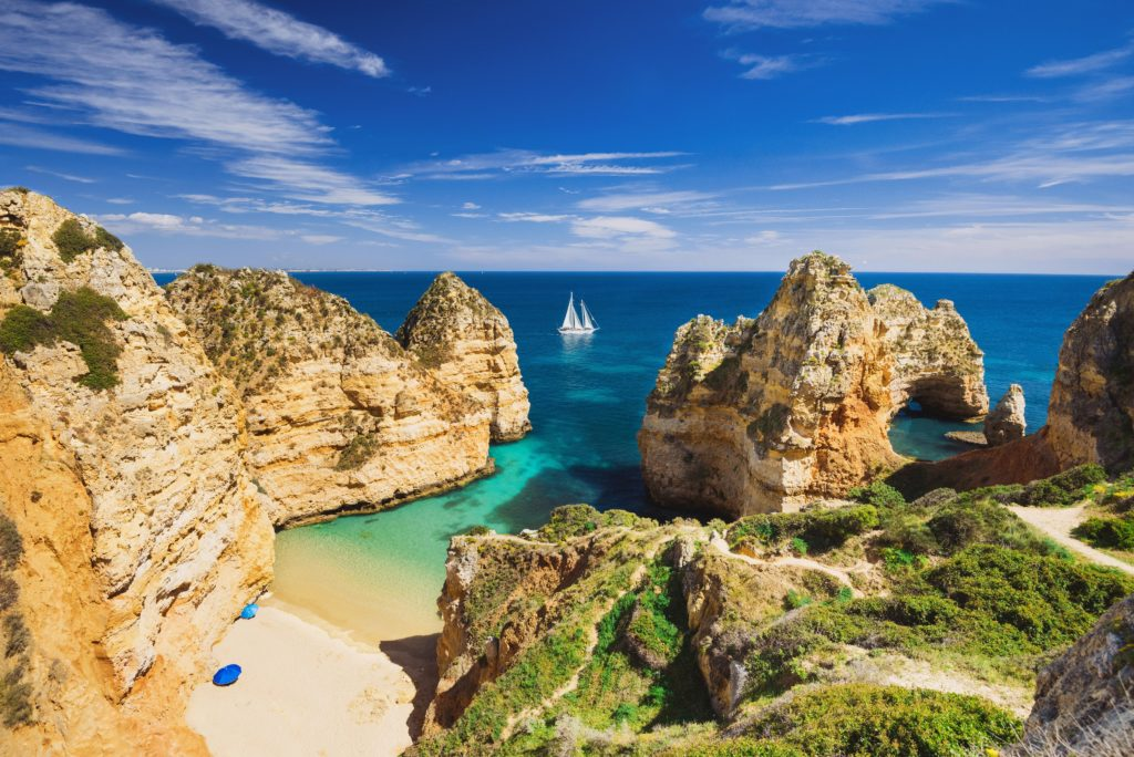 Aerial view of the sharp cliffs in the Algarve region of Portugal