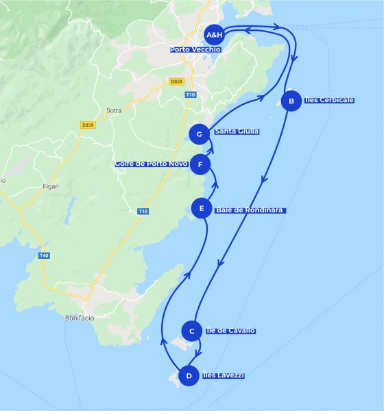 View of the itinerary of the one day on a boat in Porto Vecchio