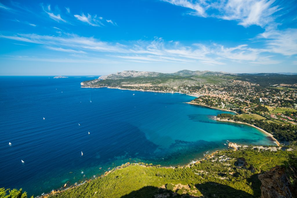 Aerial view of a stunning coastline of La Ciotat