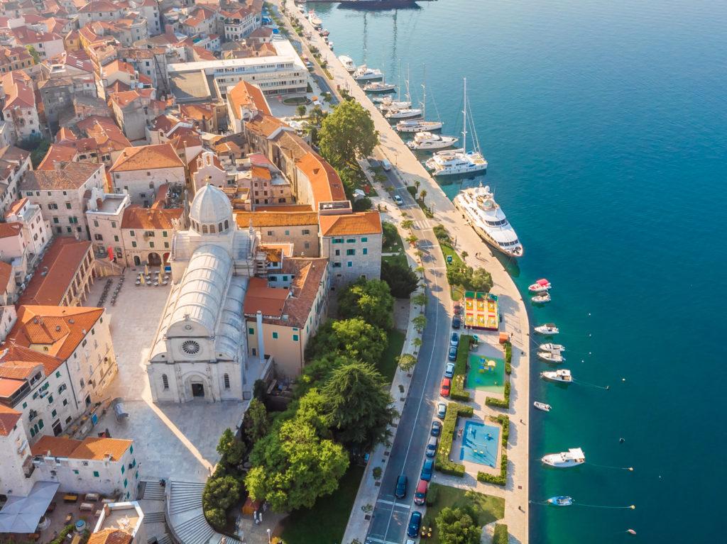 Aerial view of Sibenik town along the coastline