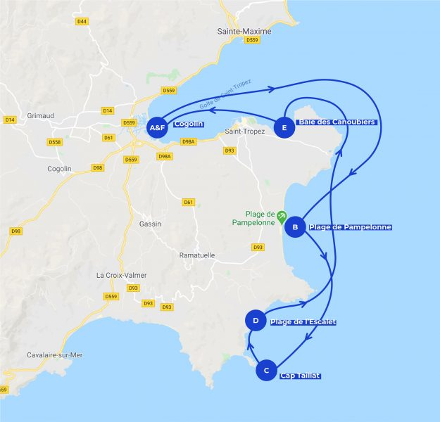 Itinerary map for the day at the sea in Saint-Tropez dayboat trip