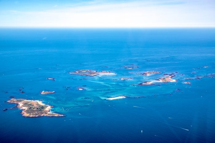 Aerial view of the Glénan archipelago in Southern Brittany