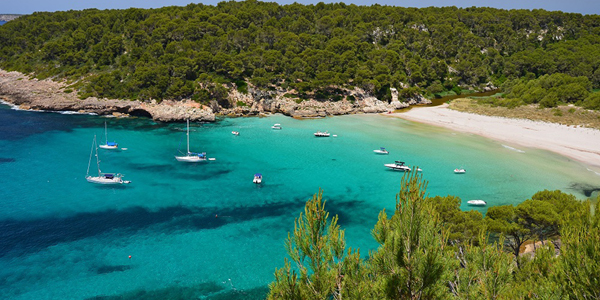 Aerial view of the Trebaluger beach in Menorca with anchoring boats and surrounding greenery