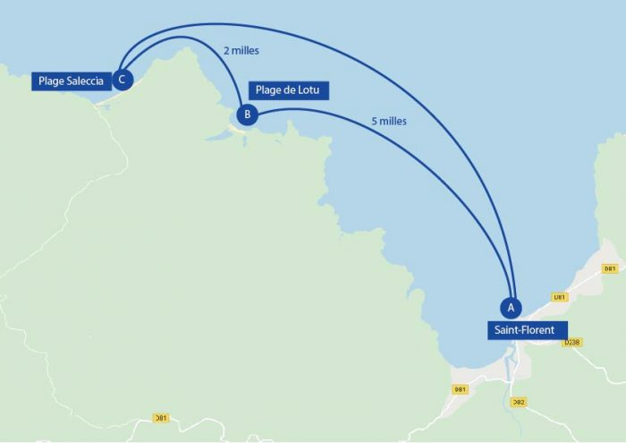 Map of the sailing itinerary through the beaches of Saint Florent, Corsica