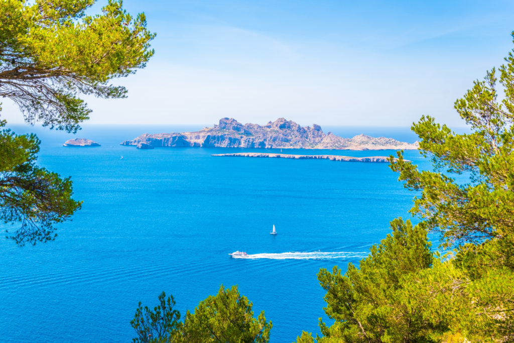 Aerial view of the Riou archipelago near Marseille with the clear blue sea