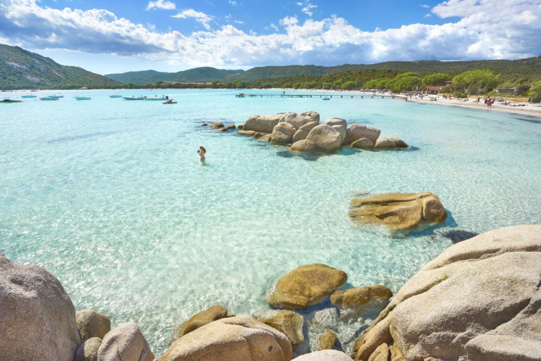 View of the Santa Giulia Beach in Corsica