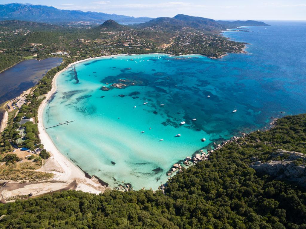 Aerial view of the bay of Santa Giulia