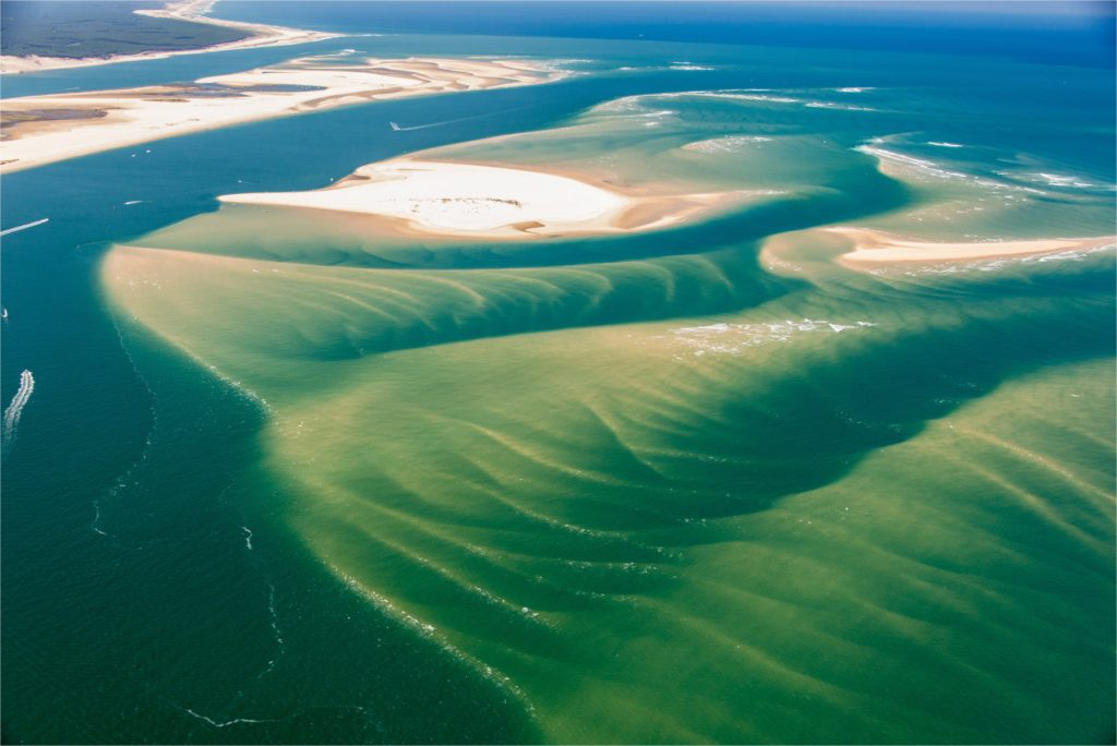 Aerial view of the Banc d'Arguin on the Arcachon Basin