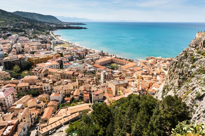 Aerial view of Cefalù showing the city center and the seaside