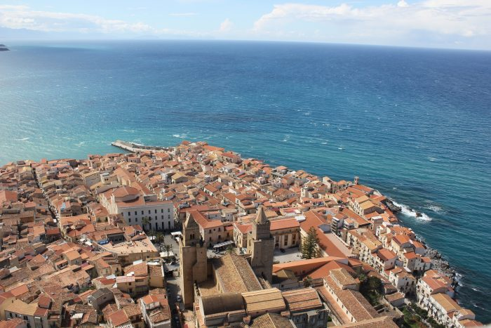 Aerial view of the city of Cefalù along the sea in Sicily