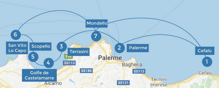 map of the itinerary in Sicily