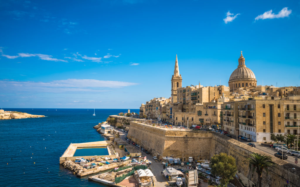 View of the coastline of Valetta with stunning buildings on the land