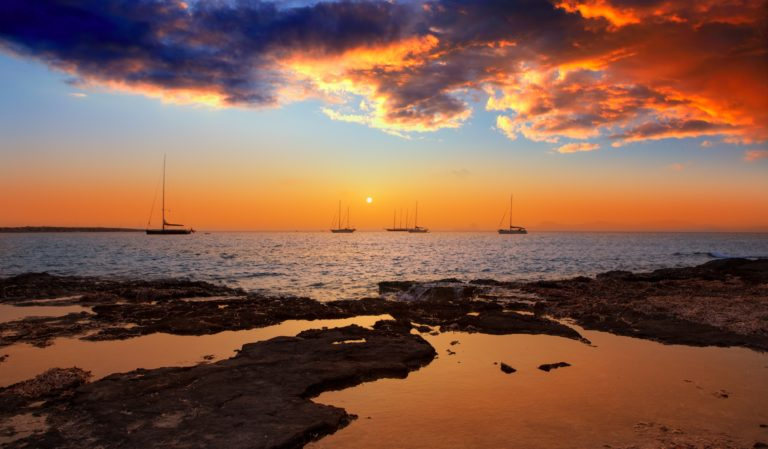 Beautiful sunset in Ibiza