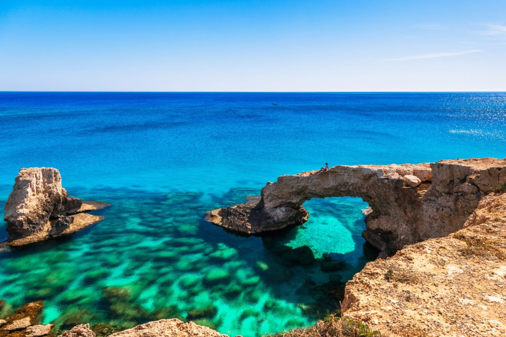 View of the stunning cliffs in Ayia Napa in the crystal clear water.