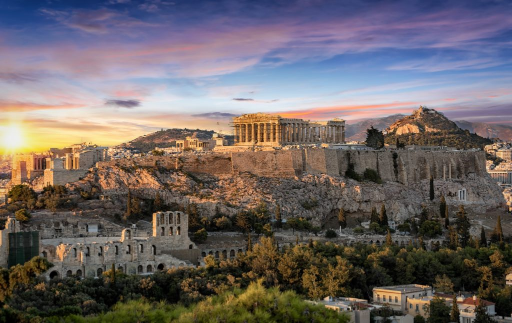 View of the Acropolis in Athens when the sun in setting