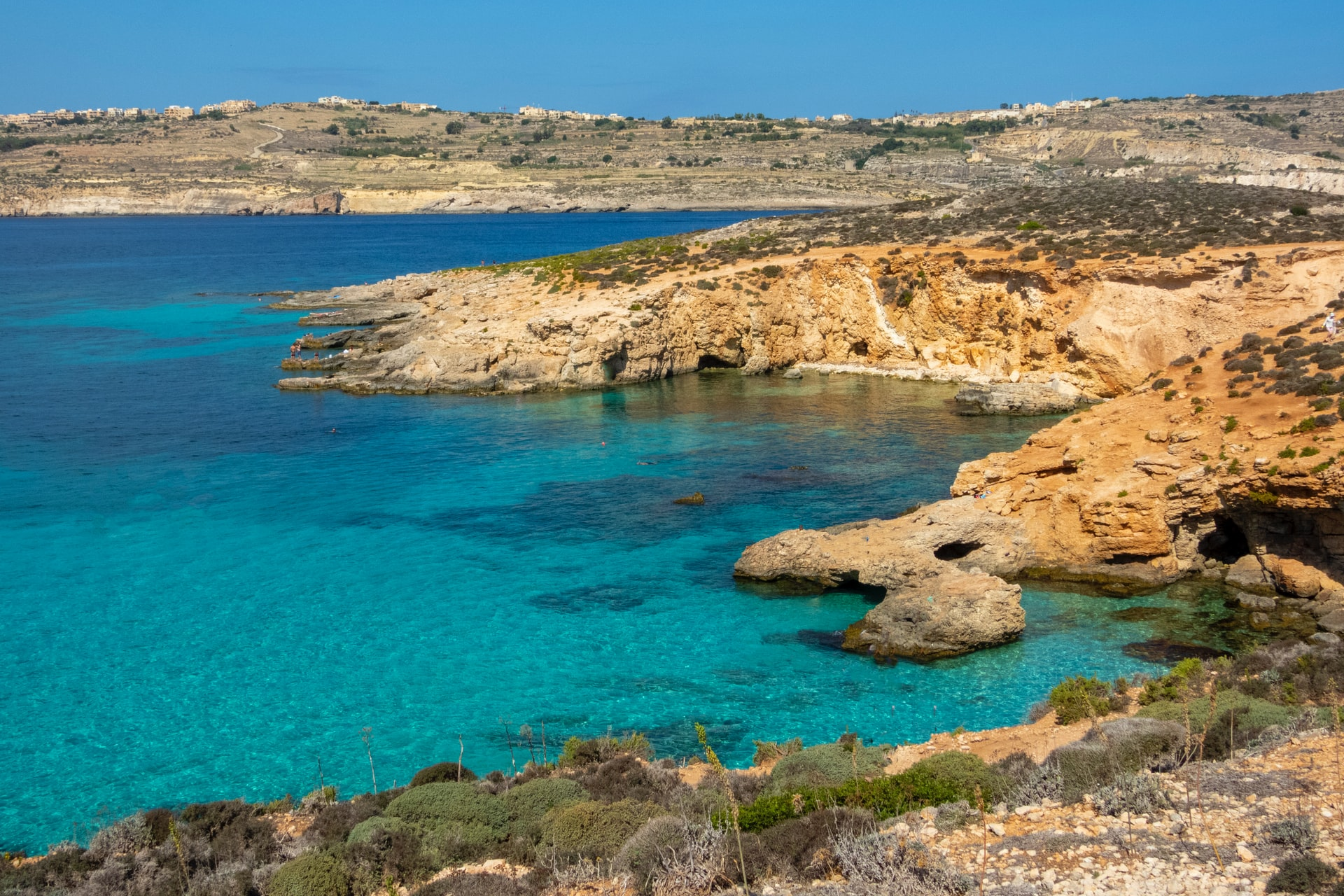 Aerial view of the Blue Lagoon in Malta