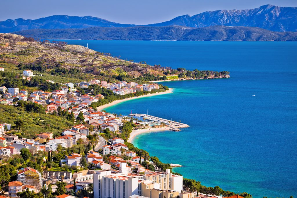 Aerial view of Makarska in Croatia.