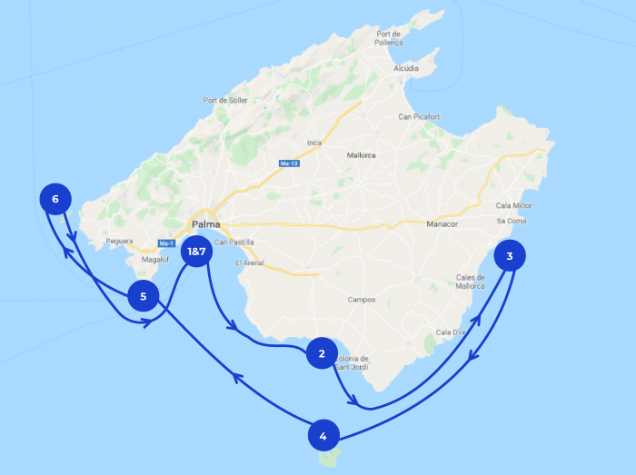 Map of the 7 days itinerary in Mallorca