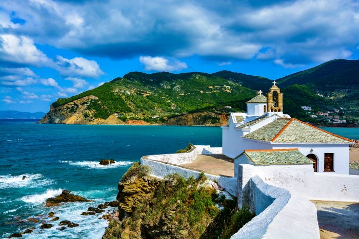 View of a church in Skopelos