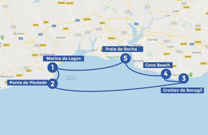 Map of the one day itinerary in Algarve