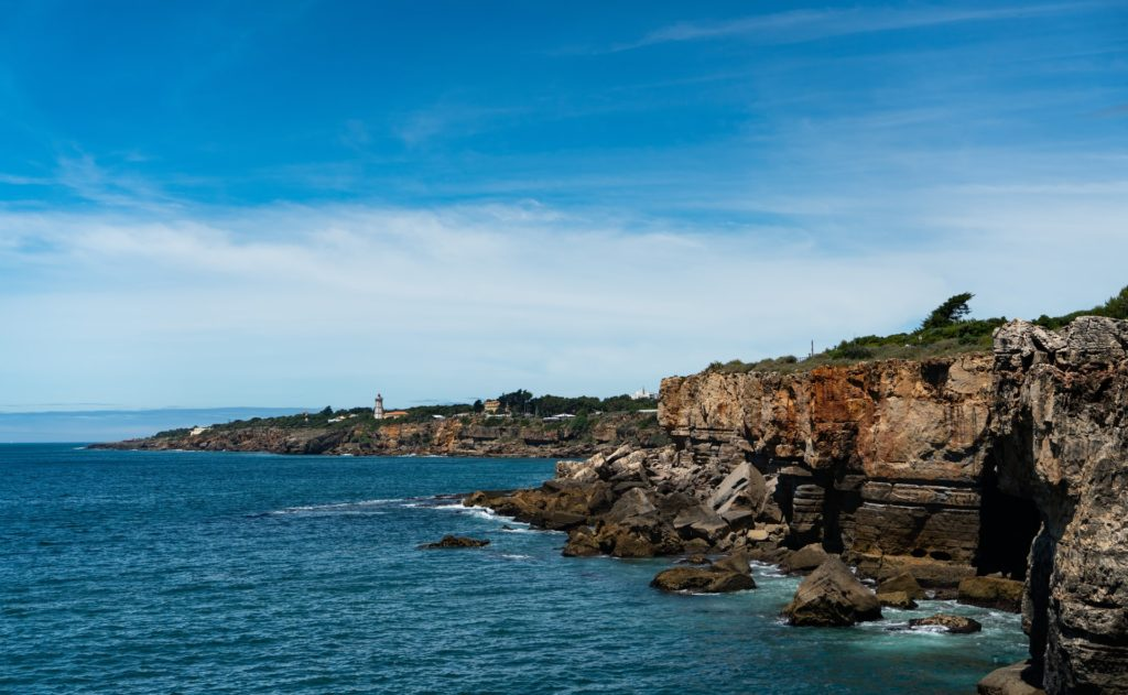 View of the coast of Cascais with sharp cliffs