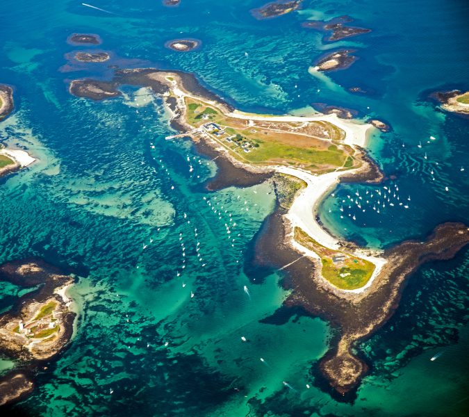 Aerial view of the small islands in the Glénan Archipelago