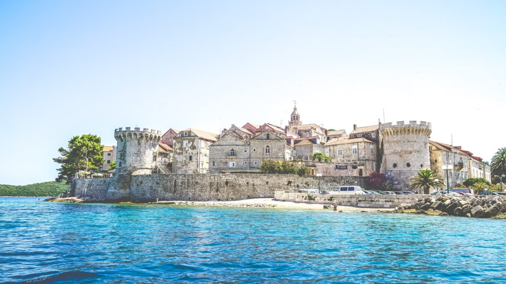 View of the old town of Korcula along the coastline