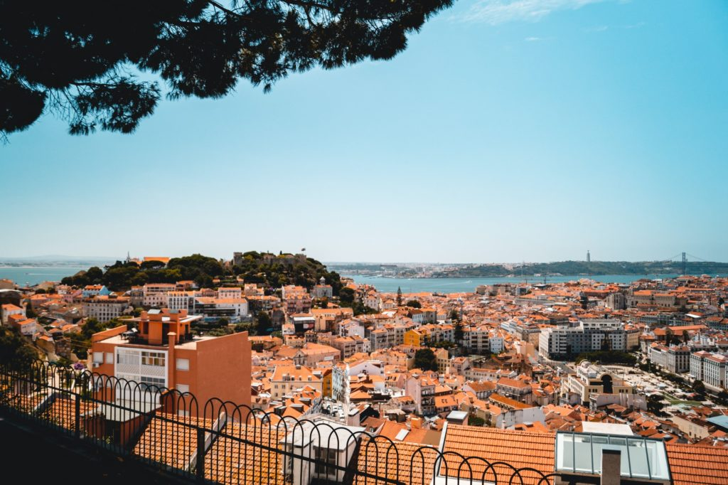 View from the St.George Castle over the city in Lisbon
